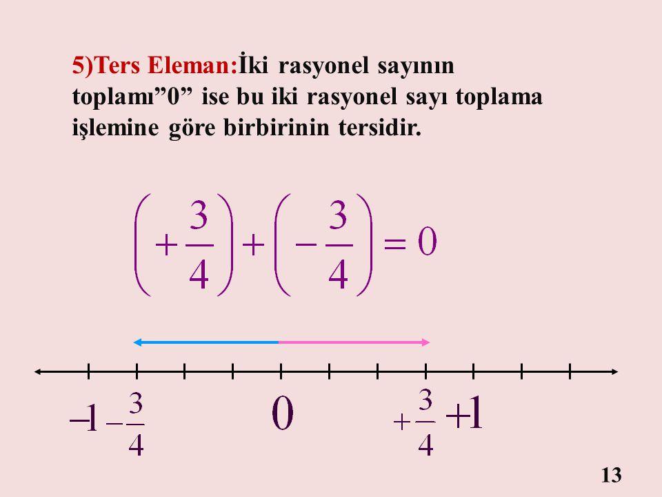 """""""0"""" sayısı yanındaki terimin değerini değiştirmedi. 4)Etkisiz (Birim) Eleman:Rasyonel sayılar kümesinin toplama işlemine göre etkisiz elemanı """"0"""" sayı"""
