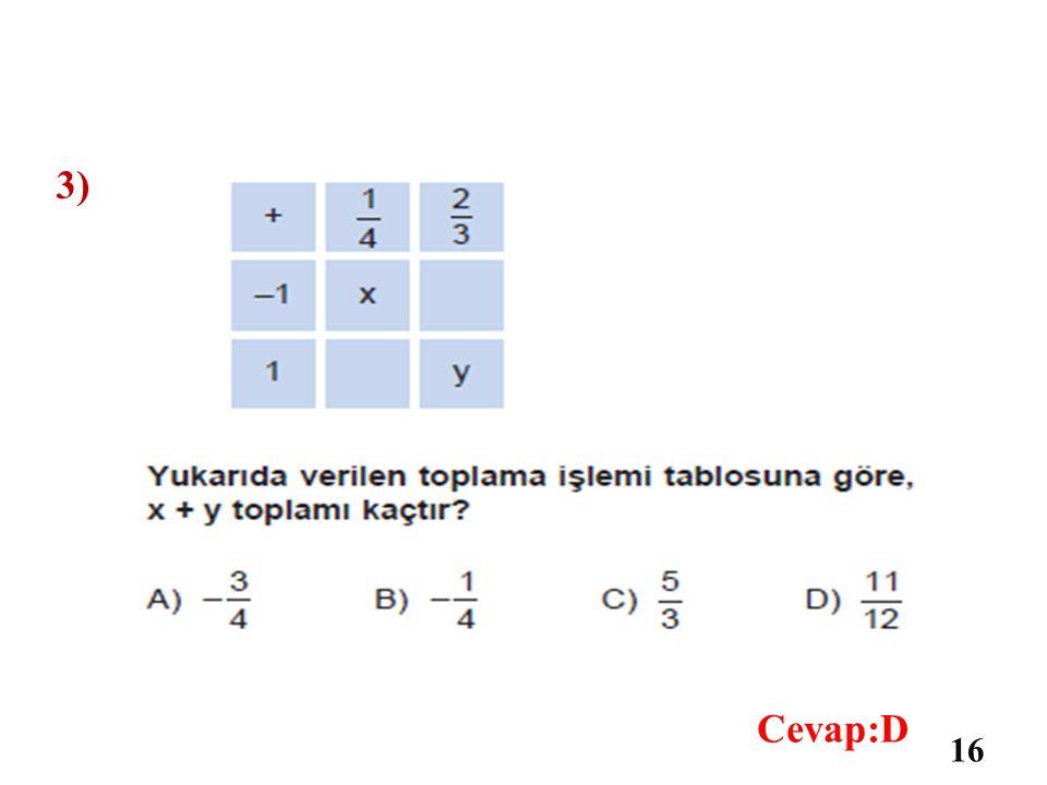 2) 15 Cevap:D