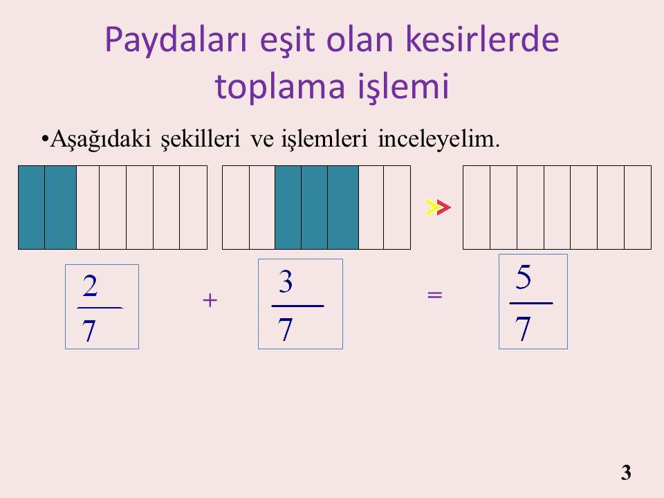 Paydaları eşit olan kesirlerde toplama işlemi Paydaları eşit olmayan kesirlerde toplama işlemi 2
