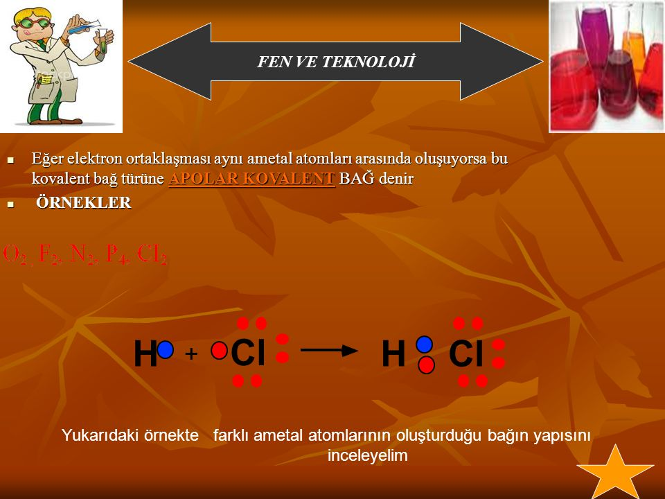 FEN VE TEKNOLOJİ KOVALENT BAĞ H H H H H H H H H H H H Atomlar elektronları ortaklaşa kullanır AYNI AMETL ATOMLARI ARASINDA GERÇEKLEŞEN KOVALENT BAĞ