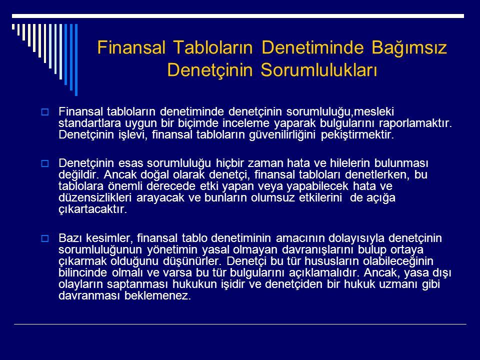 Finansal Tabloların Denetiminde Bağımsız Denetçinin Sorumlulukları  Finansal tabloların denetiminde denetçinin sorumluluğu,mesleki standartlara uygun