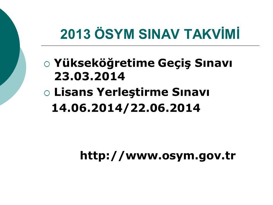 2013 ÖSYM SINAV TAKVİMİ  Yükseköğretime Geçiş Sınavı 23.03.2014  Lisans Yerleştirme Sınavı 14.06.2014/22.06.2014 http://www.osym.gov.tr