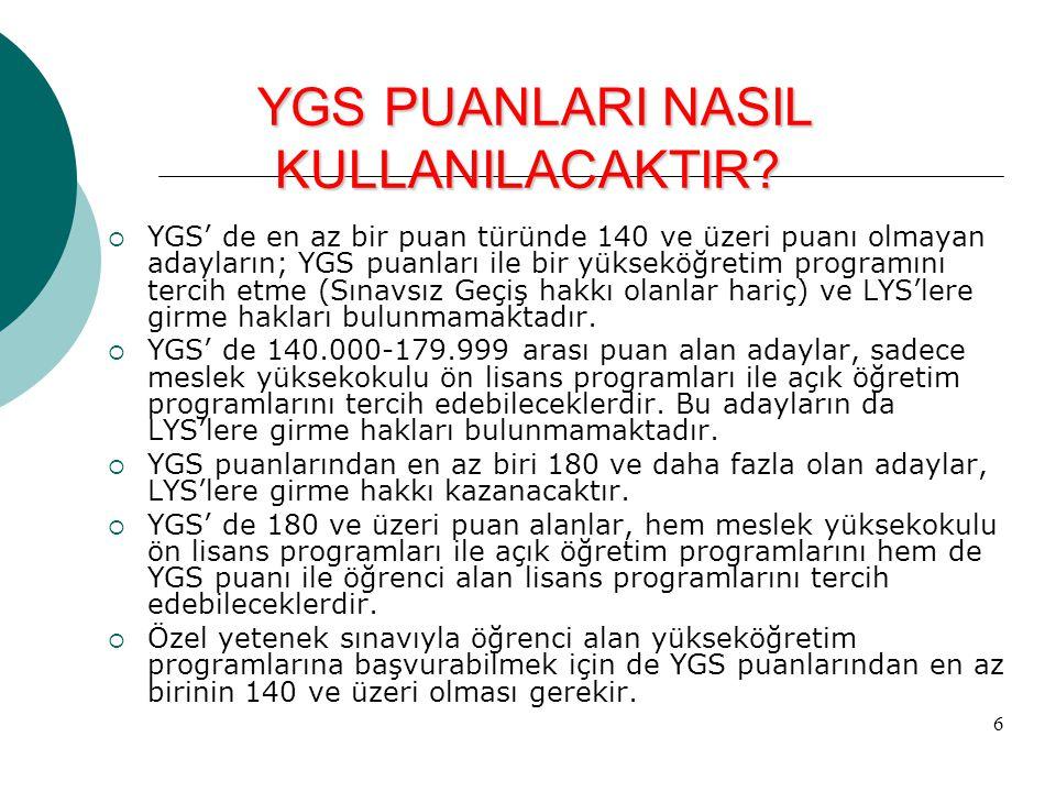 6  YGS' de en az bir puan türünde 140 ve üzeri puanı olmayan adayların; YGS puanları ile bir yükseköğretim programını tercih etme (Sınavsız Geçiş hak