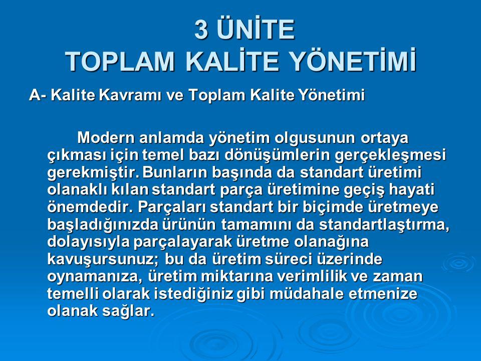 3 ÜNİTE TOPLAM KALİTE YÖNETİMİ 3 ÜNİTE TOPLAM KALİTE YÖNETİMİ A- Kalite Kavramı ve Toplam Kalite Yönetimi Modern anlamda yönetim olgusunun ortaya çıkm