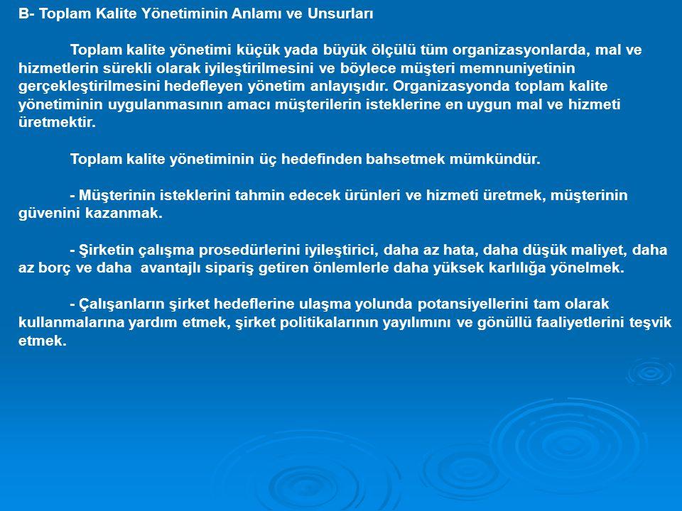 B- Toplam Kalite Yönetiminin Anlamı ve Unsurları Toplam kalite yönetimi küçük yada büyük ölçülü tüm organizasyonlarda, mal ve hizmetlerin sürekli olar
