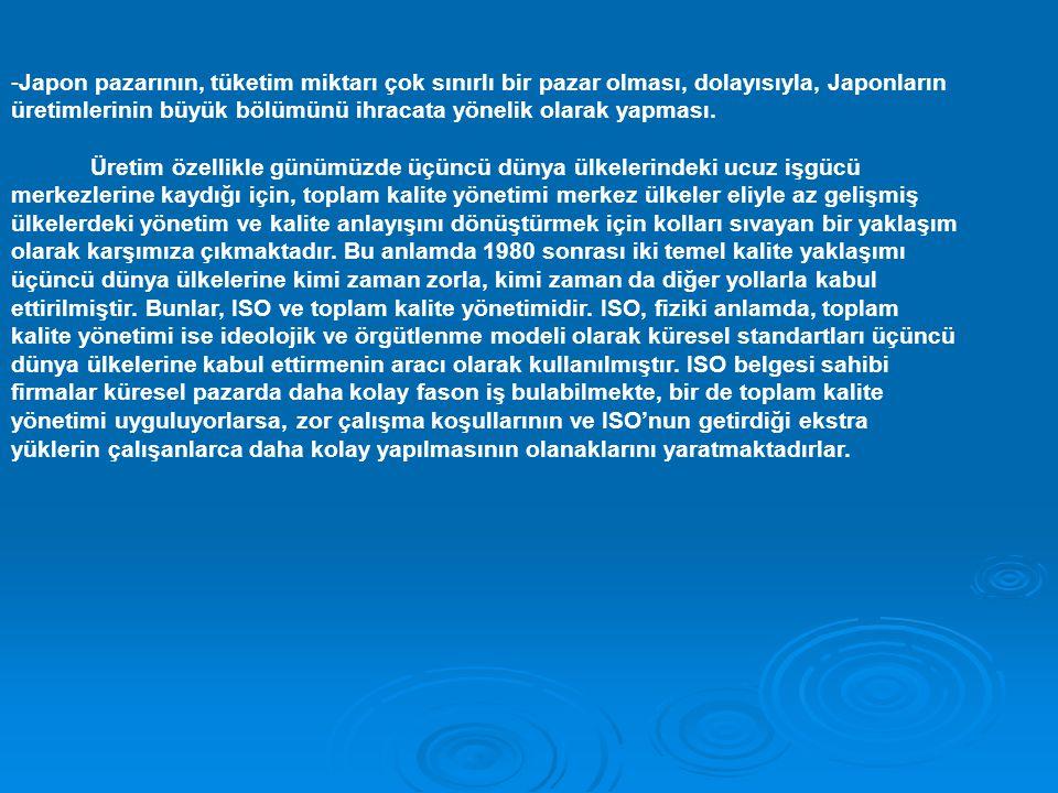 -Japon pazarının, tüketim miktarı çok sınırlı bir pazar olması, dolayısıyla, Japonların üretimlerinin büyük bölümünü ihracata yönelik olarak yapması.
