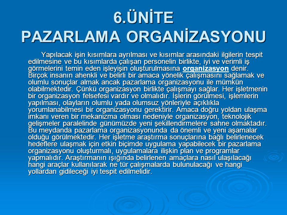 6.ÜNİTE PAZARLAMA ORGANİZASYONU Yapılacak işin kısımlara ayrılması ve kısımlar arasındaki ilgilerin tespit edilmesine ve bu kısımlarda çalışan persone