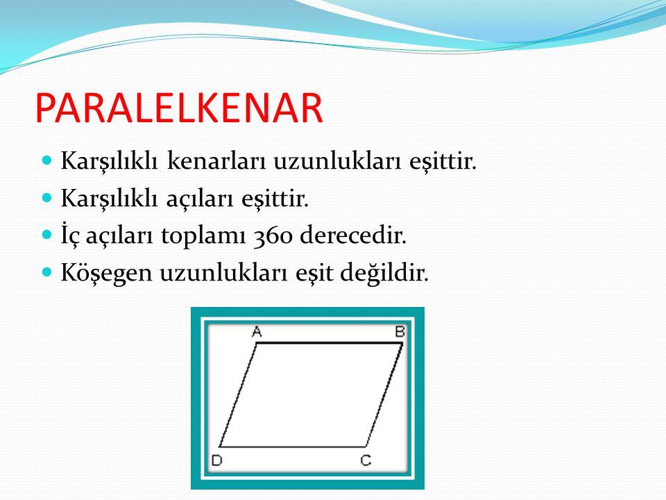 PARALELKENAR Karşılıklı kenarları uzunlukları eşittir. Karşılıklı açıları eşittir. İç açıları toplamı 360 derecedir. Köşegen uzunlukları eşit değildir