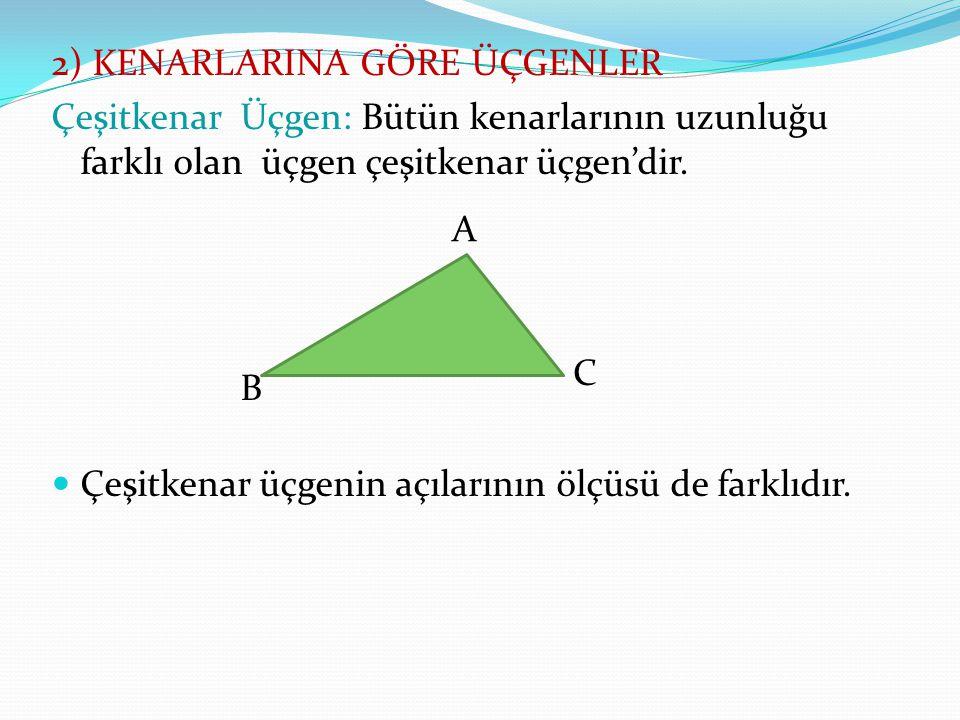 2) KENARLARINA GÖRE ÜÇGENLER Çeşitkenar Üçgen: Bütün kenarlarının uzunluğu farklı olan üçgen çeşitkenar üçgen'dir. Çeşitkenar üçgenin açılarının ölçüs