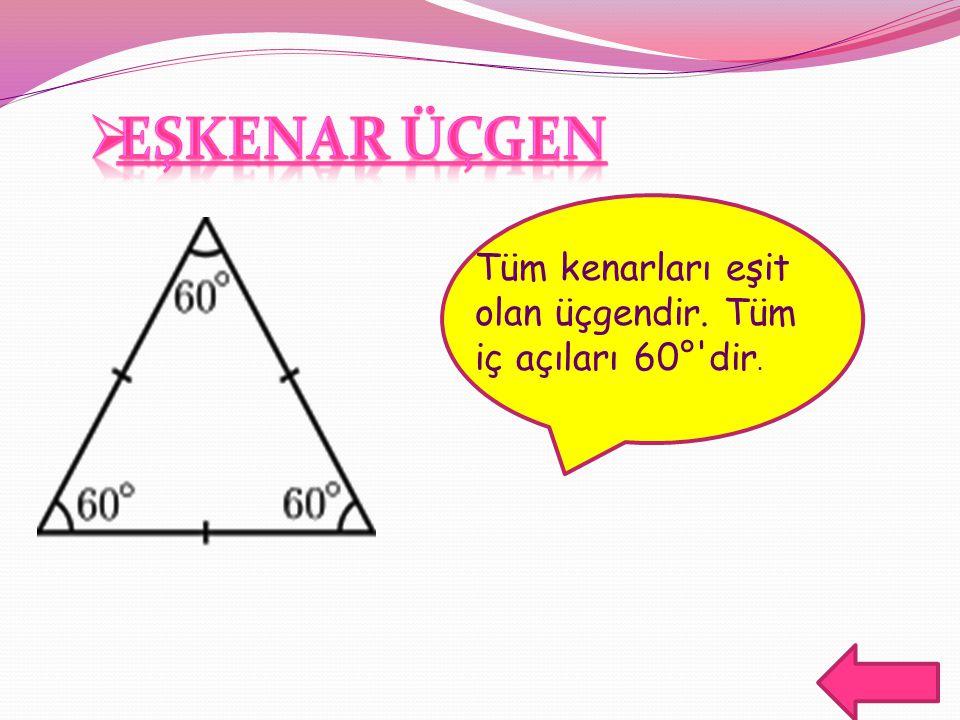 Tüm kenarları eşit olan üçgendir. Tüm iç açıları 60°'dir.