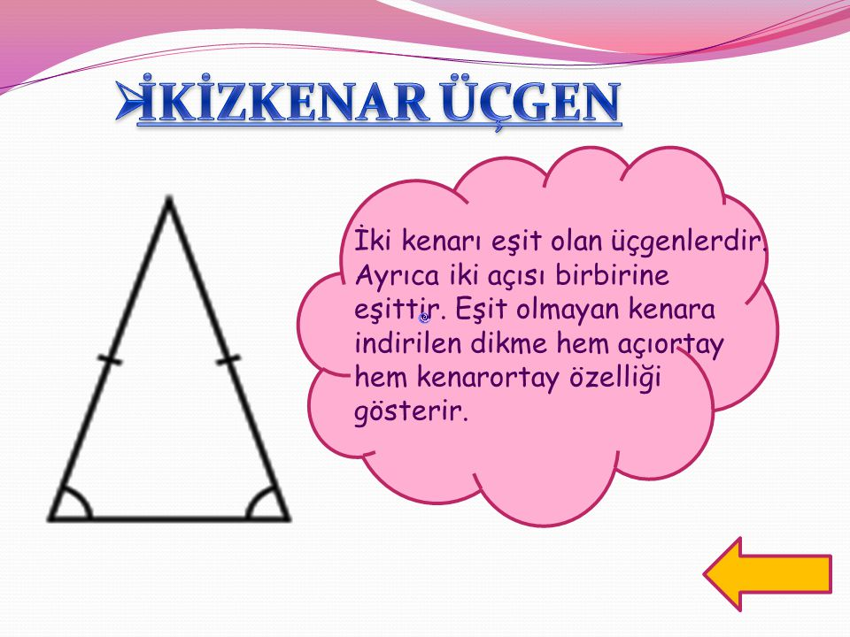 İki kenarı eşit olan üçgenlerdir. Ayrıca iki açısı birbirine eşittir. Eşit olmayan kenara indirilen dikme hem açıortay hem kenarortay özelliği gösteri