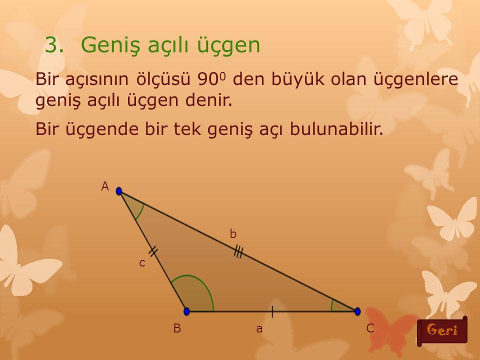 Bir açısının ölçüsü 90 0 ye eşit olan üçgenlere dik üçgen denir Bir üçgende bir tek dik açı bulunabilir.
