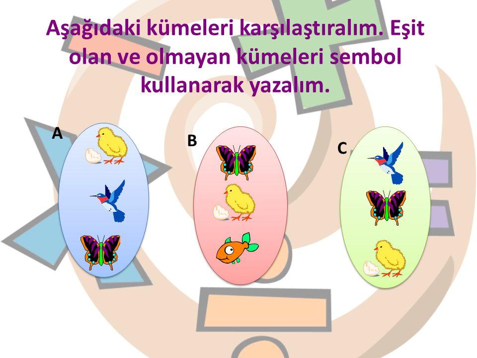Aşağıdaki kümeleri karşılaştıralım. Eşit olan ve olmayan kümeleri sembol kullanarak yazalım. A B C