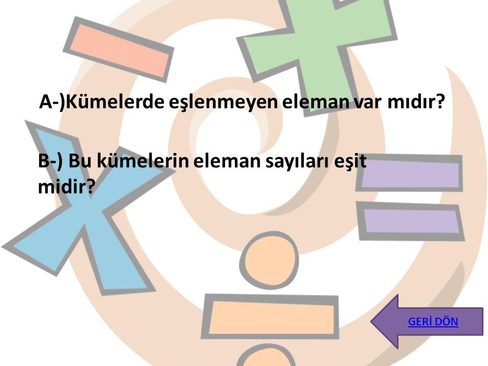 A-)Kümelerde eşlenmeyen eleman var mıdır? B-) Bu kümelerin eleman sayıları eşit midir? GERİ DÖN
