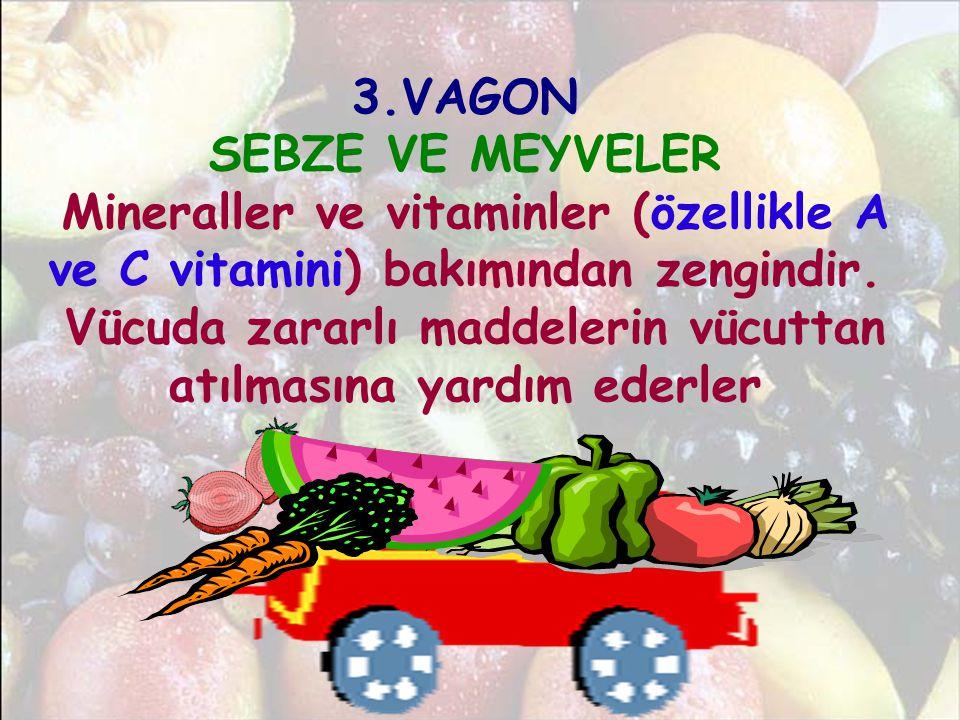 3.VAGON SEBZE VE MEYVELER Mineraller ve vitaminler (özellikle A ve C vitamini) bakımından zengindir. Vücuda zararlı maddelerin vücuttan atılmasına yar