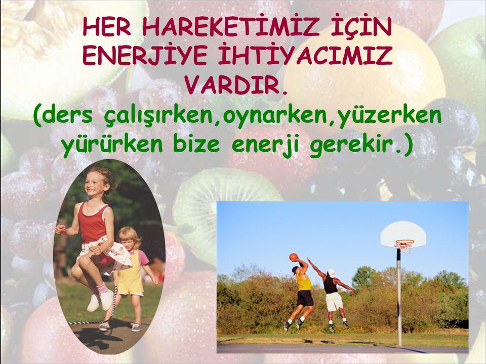 HER HAREKETİMİZ İÇİN ENERJİYE İHTİYACIMIZ VARDIR. (ders çalışırken,oynarken,yüzerken yürürken bize enerji gerekir.)