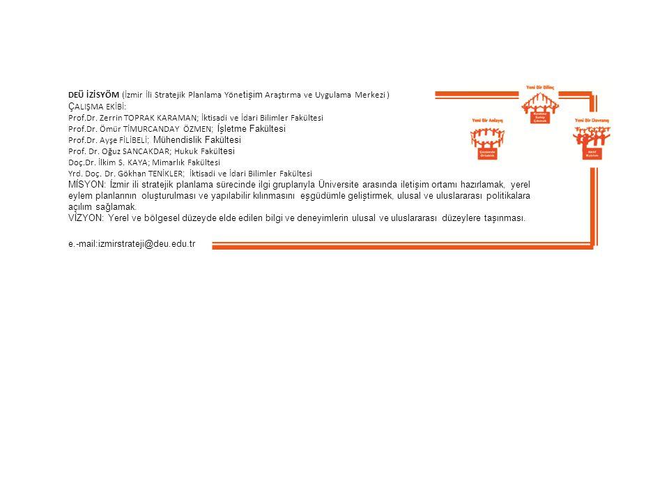 DEÜ İZİSYÖM (İzmir İli Stratejik Planlama Yöne tişim Araştırma ve Uygulama Merkezi ) Ç ALIŞMA EKİBİ: Prof.Dr.