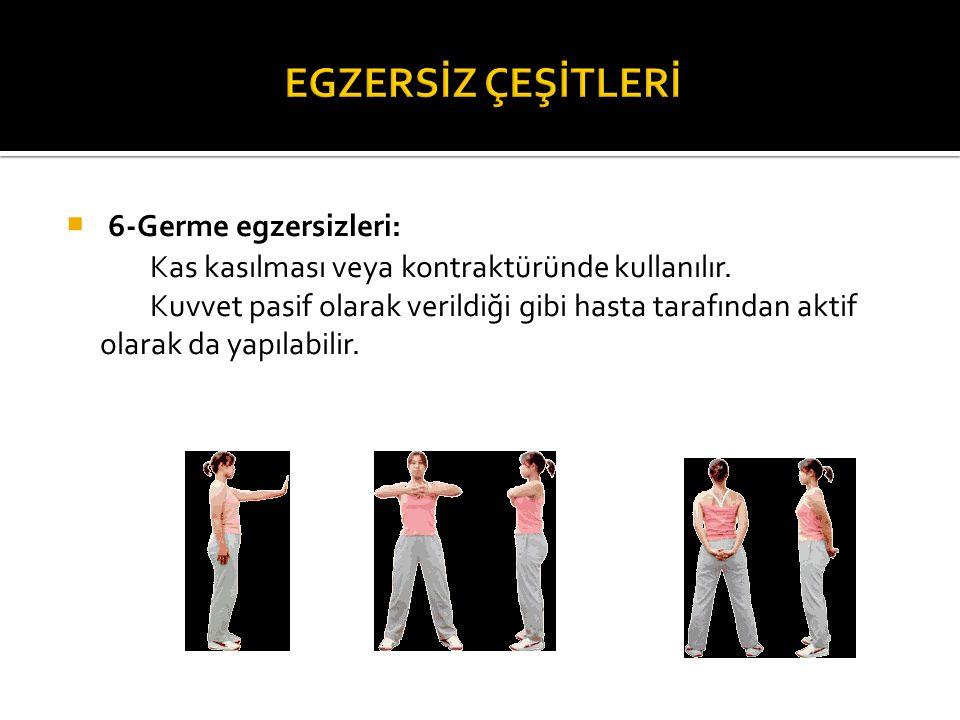  6-Germe egzersizleri: Kas kasılması veya kontraktüründe kullanılır. Kuvvet pasif olarak verildiği gibi hasta tarafından aktif olarak da yapılabilir.
