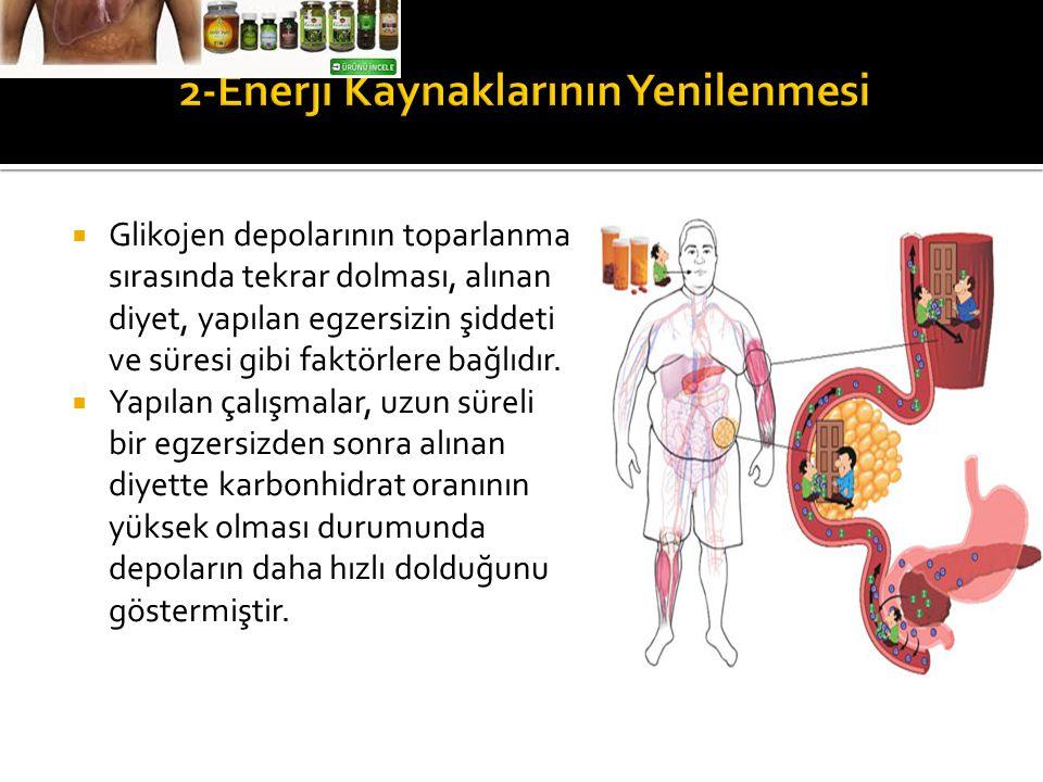  Glikojen depolarının toparlanma sırasında tekrar dolması, alınan diyet, yapılan egzersizin şiddeti ve süresi gibi faktörlere bağlıdır.  Yapılan çal