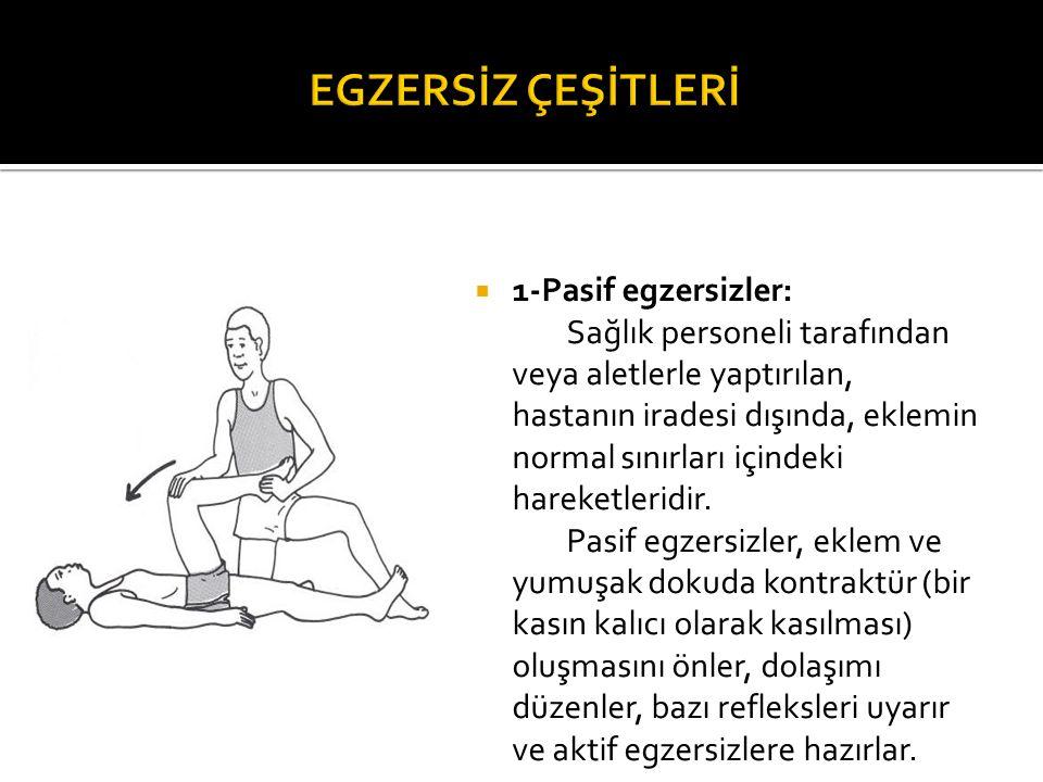  1-Pasif egzersizler: Sağlık personeli tarafından veya aletlerle yaptırılan, hastanın iradesi dışında, eklemin normal sınırları içindeki hareketlerid