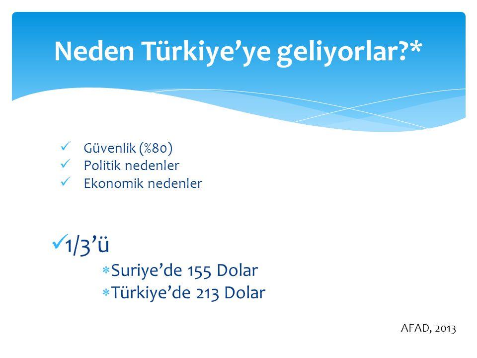 Güvenlik (%80) Politik nedenler Ekonomik nedenler 1/3'ü  Suriye'de 155 Dolar  Türkiye'de 213 Dolar Neden Türkiye'ye geliyorlar?* AFAD, 2013