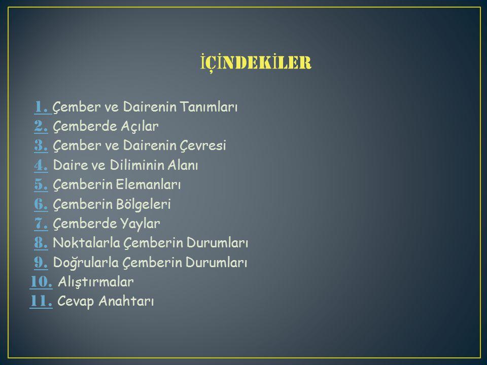 İ Ç İ NDEK İ LER 1.Çember ve Dairenin Tanımları 2.