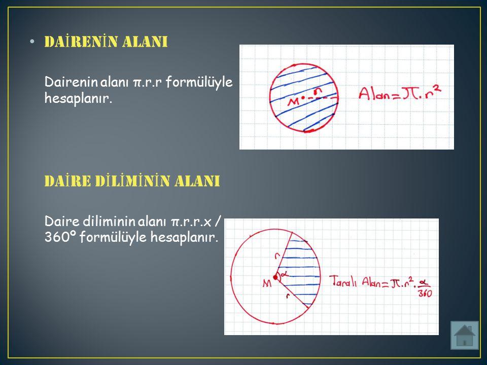 DA İ REN İ N ALANI Dairenin alanı π.r.r formülüyle hesaplanır.