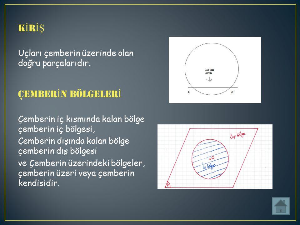 K İ R İŞ Uçları çemberin üzerinde olan doğru parçalarıdır.