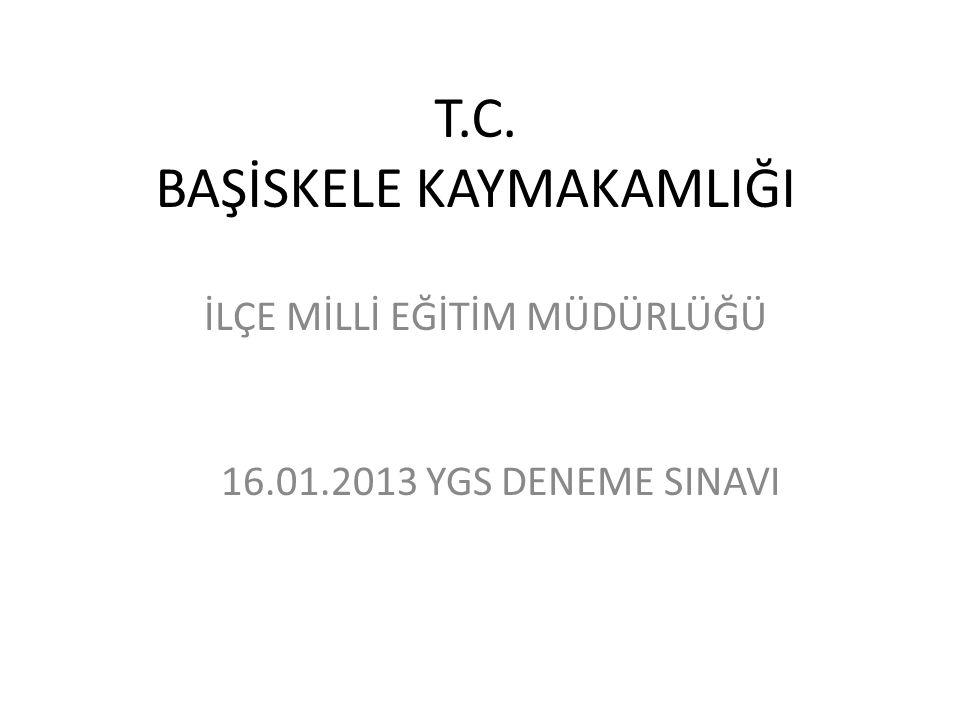 T.C. BAŞİSKELE KAYMAKAMLIĞI İLÇE MİLLİ EĞİTİM MÜDÜRLÜĞÜ 16.01.2013 YGS DENEME SINAVI