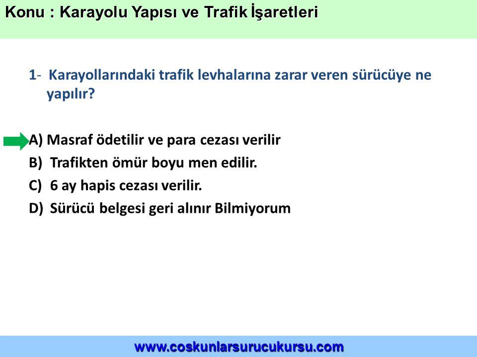 22-) Şekildeki trafik işareti aşağıdaki durumların hangisinde kullanılır.