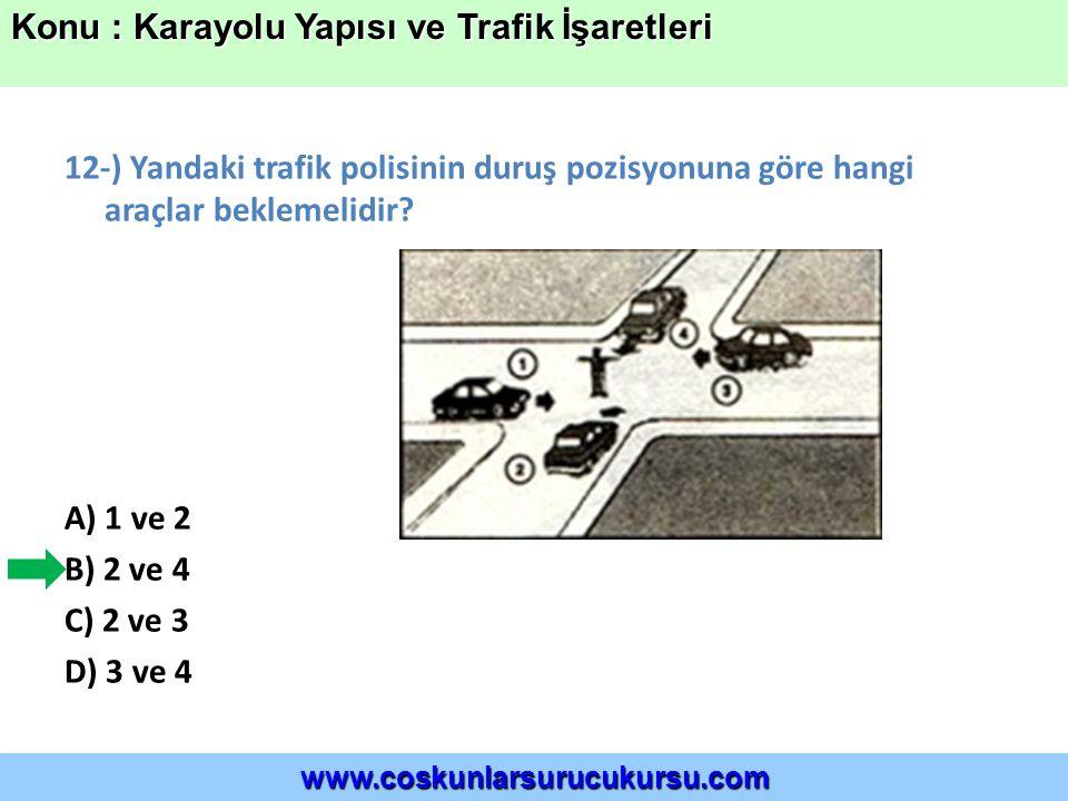 12-) Yandaki trafik polisinin duruş pozisyonuna göre hangi araçlar beklemelidir.