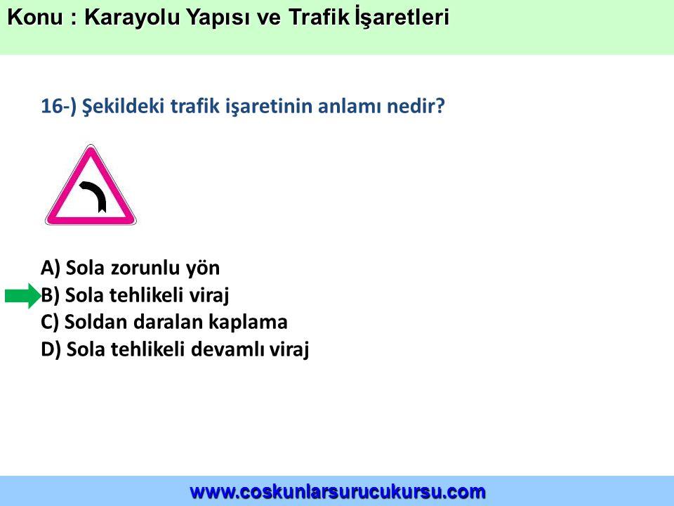 16-) Şekildeki trafik işaretinin anlamı nedir.
