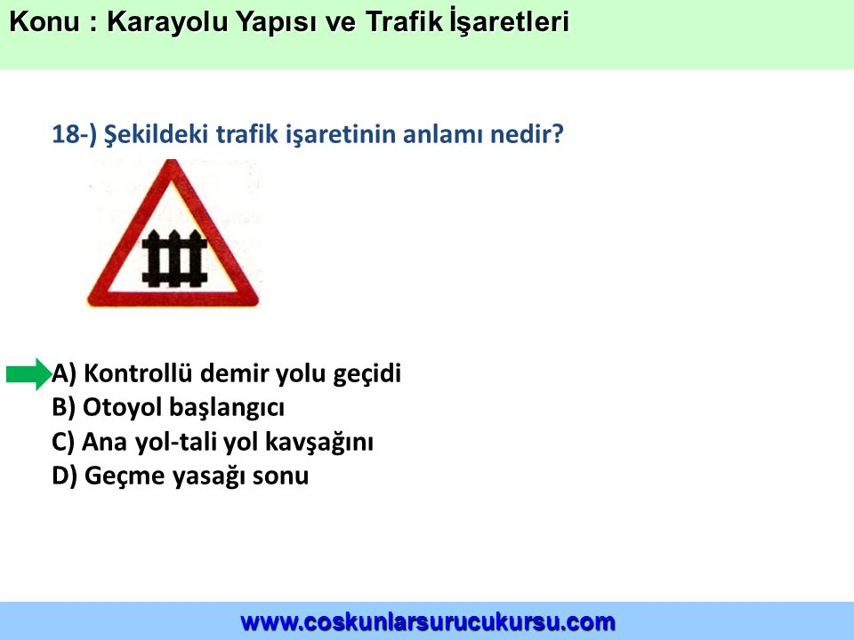 18-) Şekildeki trafik işaretinin anlamı nedir.