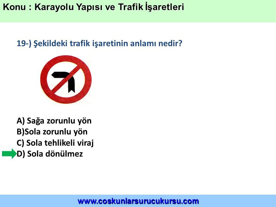 19-) Şekildeki trafik işaretinin anlamı nedir.