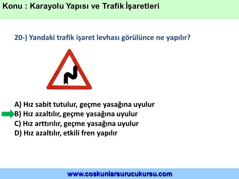 20-) Yandaki trafik işaret levhası görülünce ne yapılır.