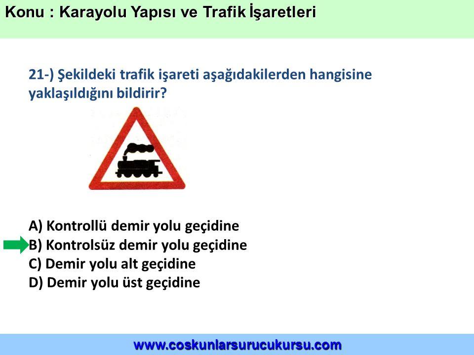 21-) Şekildeki trafik işareti aşağıdakilerden hangisine yaklaşıldığını bildirir.