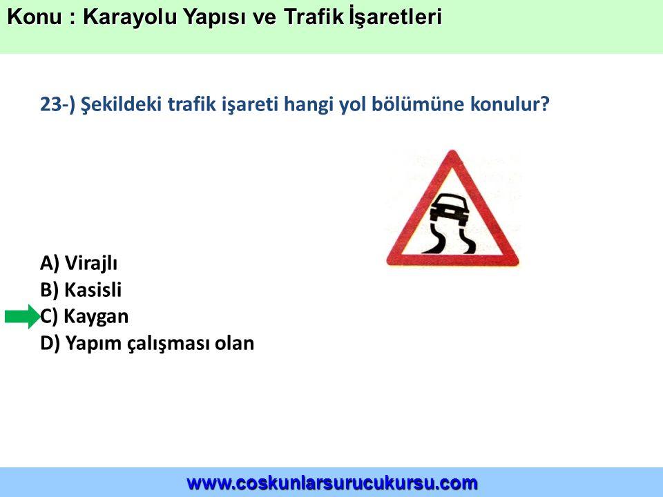 23-) Şekildeki trafik işareti hangi yol bölümüne konulur.