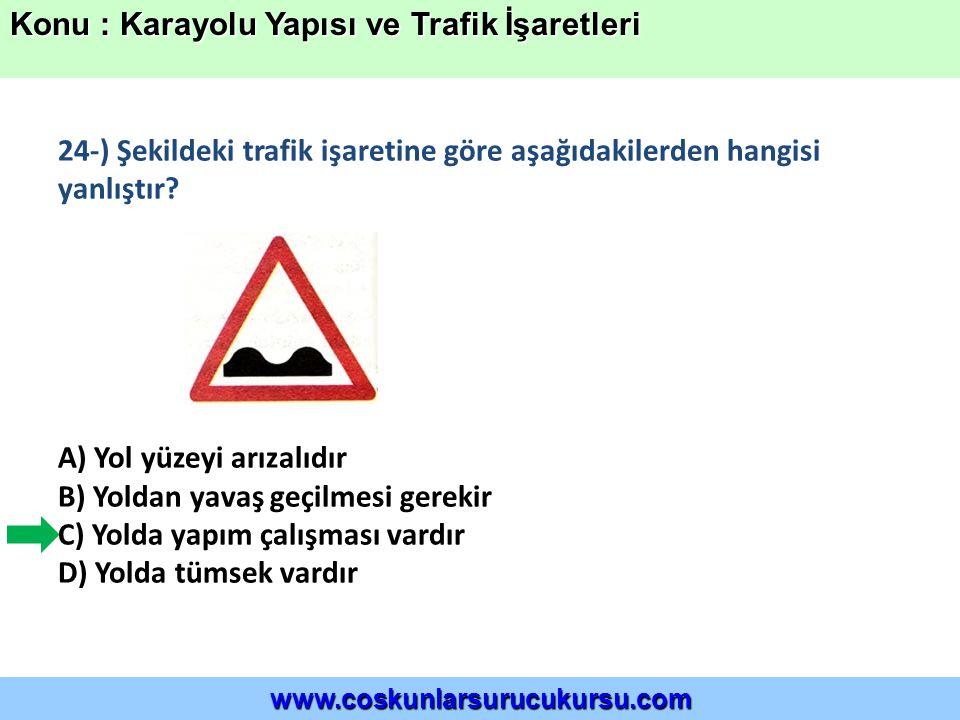 24-) Şekildeki trafik işaretine göre aşağıdakilerden hangisi yanlıştır.