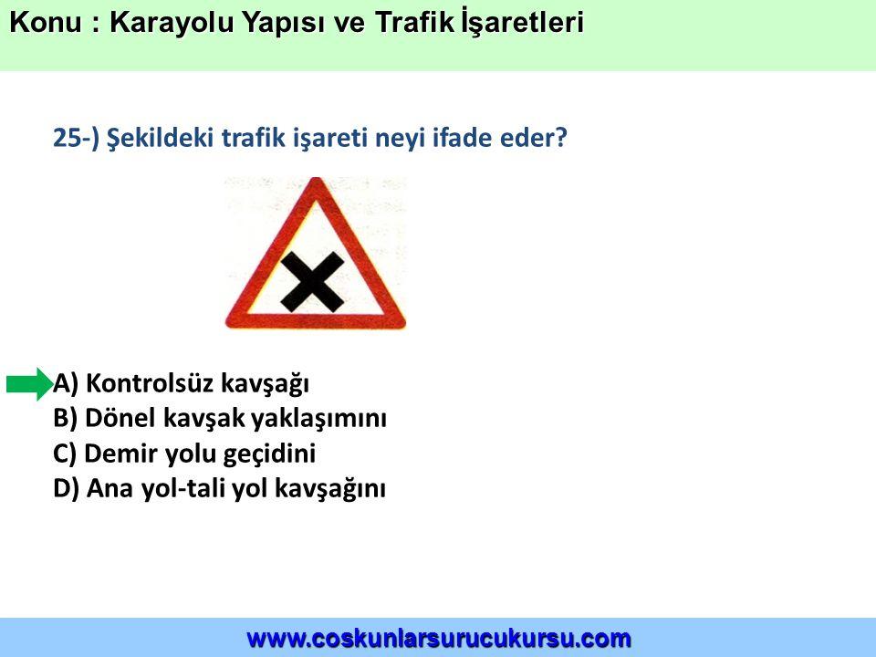 25-) Şekildeki trafik işareti neyi ifade eder.