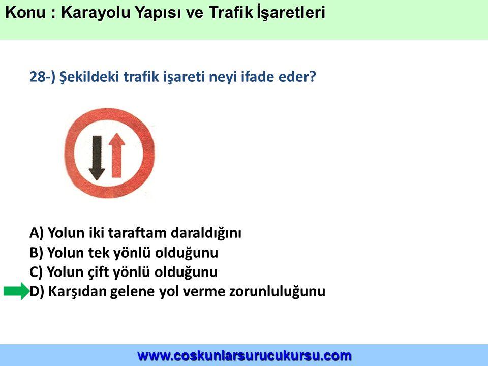28-) Şekildeki trafik işareti neyi ifade eder.