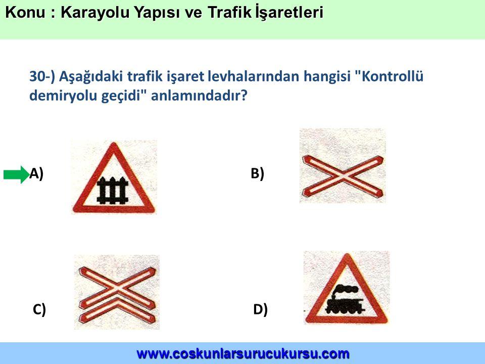 30-) Aşağıdaki trafik işaret levhalarından hangisi Kontrollü demiryolu geçidi anlamındadır.