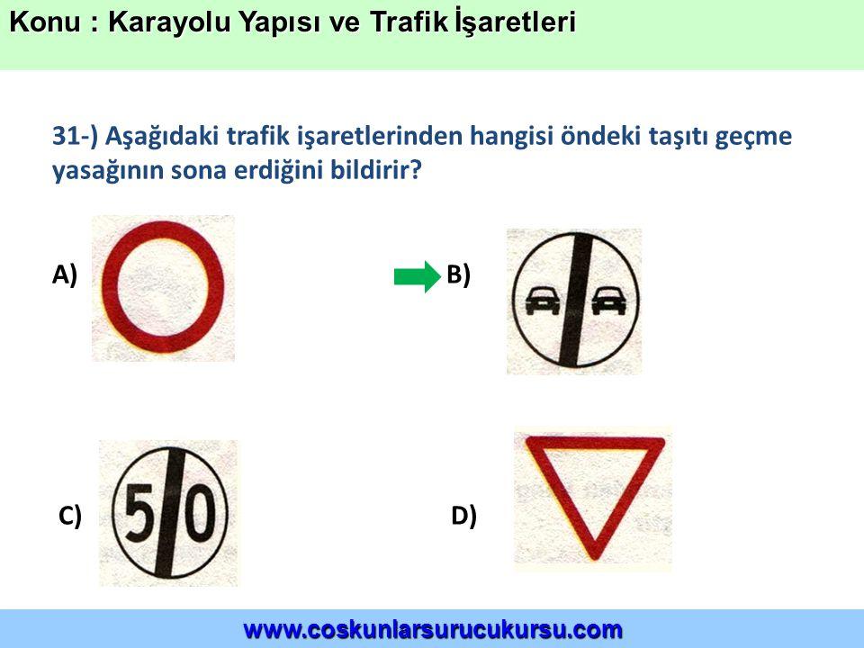 31-) Aşağıdaki trafik işaretlerinden hangisi öndeki taşıtı geçme yasağının sona erdiğini bildirir.