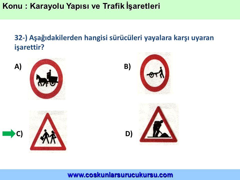 32-) Aşağıdakilerden hangisi sürücüleri yayalara karşı uyaran işarettir.