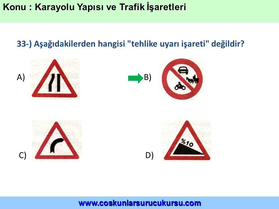 33-) Aşağıdakilerden hangisi tehlike uyarı işareti değildir.
