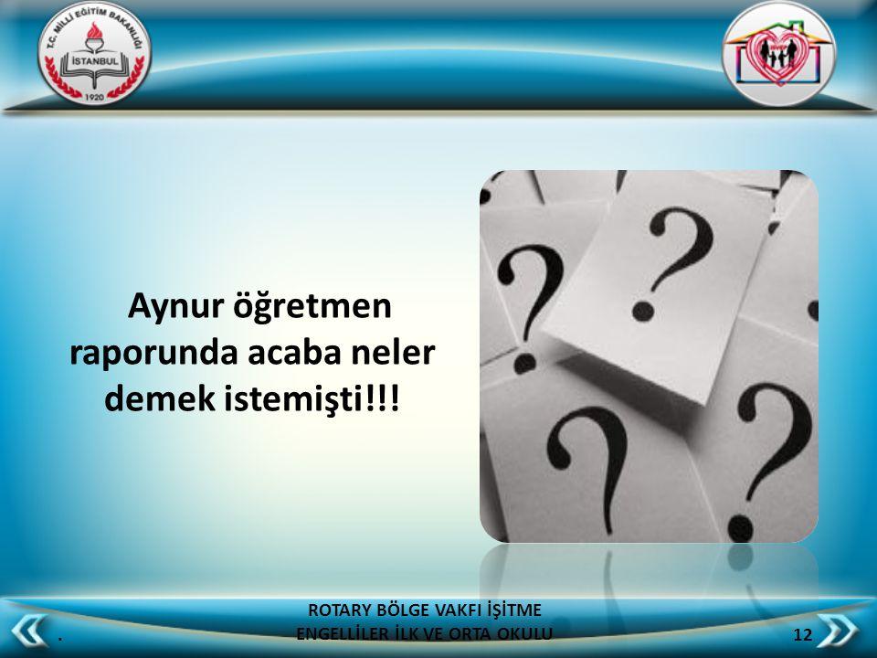 Aynur öğretmen raporunda acaba neler demek istemişti!!!. 12 ROTARY BÖLGE VAKFI İŞİTME ENGELLİLER İLK VE ORTA OKULU
