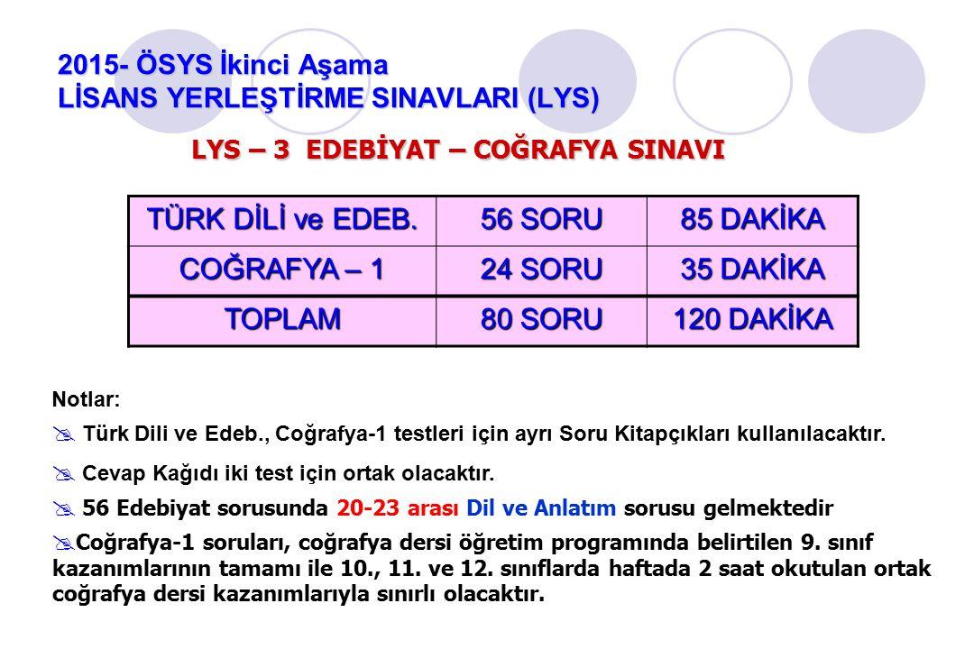 2015- ÖSYS İkinci Aşama LİSANS YERLEŞTİRME SINAVLARI (LYS) Notlar:  Türk Dili ve Edeb., Coğrafya-1 testleri için ayrı Soru Kitapçıkları kullanılacaktır.