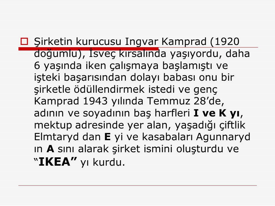  Şirketin kurucusu Ingvar Kamprad (1920 doğumlu), İsveç kırsalında yaşıyordu, daha 6 yaşında iken çalışmaya başlamıştı ve işteki başarısından dolayı