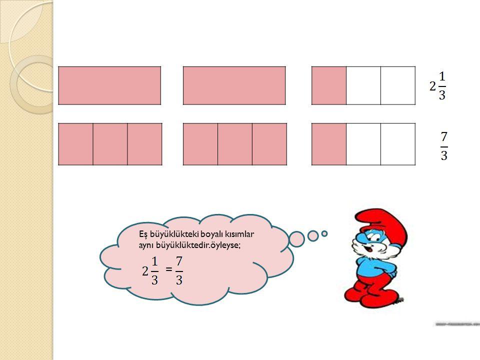 Eş büyüklükteki boyalı kısımlar aynı büyüklüktedir.öyleyse; =