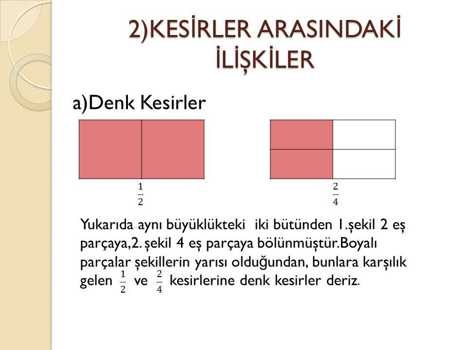 2)KES İ RLER ARASINDAK İ İ L İ ŞK İ LER a)Denk Kesirler Yukarıda aynı büyüklükteki iki bütünden 1.şekil 2 eş parçaya,2. şekil 4 eş parçaya bölünmüştür