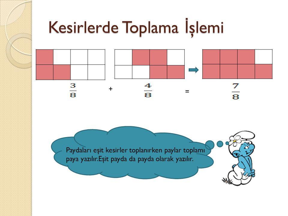 Kesirlerde Toplama İ şlemi = + Paydaları eşit kesirler toplanırken paylar toplamı paya yazılır.Eşit payda da payda olarak yazılır.